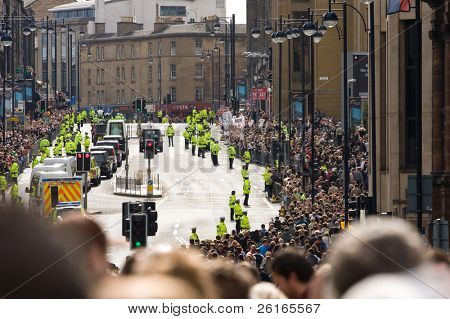 EDINBURGH, SCOTLAND, UK - SEPTEMBER 16: Pope Benedict XVI in his popemobile travels through Lothian Rd. on September 16, 2010 in Edinburgh, Scotland, United Kingdom. On his way to Archbishop House.