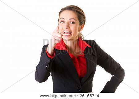 young irritated businesswoman, point with her finger and shout, isolated on white
