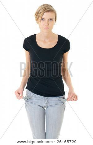 sad attractive female shows empty pockets, no money, studio shoot isolated on white