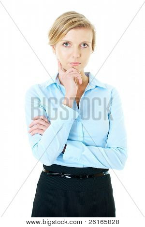 young blonde thoughtful businesswoman in blue shirt, studio shoot isolated on white