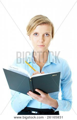 young attractive businesswoman holds 2011 calendar and yellow pencil, studio shoot isolated on white