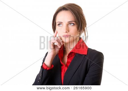 young businesswoman considering or making decision, studio shoot isolated on white