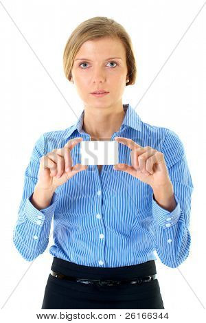 woman in blue shirt holds blank card, isolated on white
