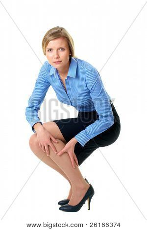 woman holds her calf, tired painful legs concept, isolate