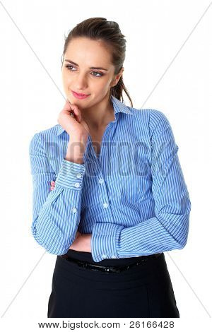 young businesswoman hold her finger at her chin, hard decision, isolated on white