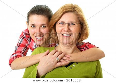 happy and smiling daughter and mother, studio shoot isolated on white