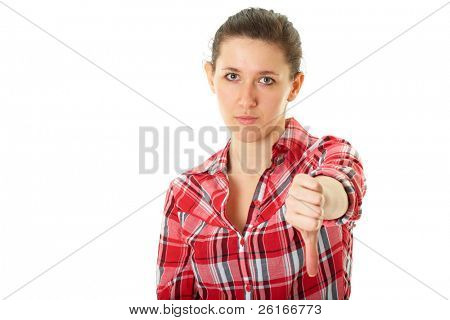 thumb down, young sad, unhappy female in red shirt isolated on white