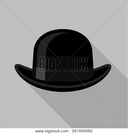 Bowler Hat Icon Flat Illustration