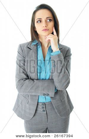 young businesswoman holds her chin, hard decision, studio shoot isolated on white
