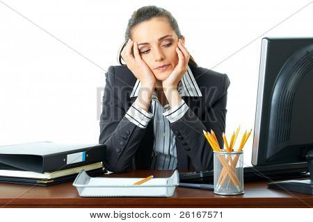 young attractive tired, overworked and exhausted female office worker in grey suit, isolated on white background