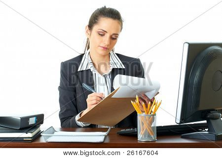 attractive office make some notes while looking at computer screen, busy preparing some documents, isolated on white