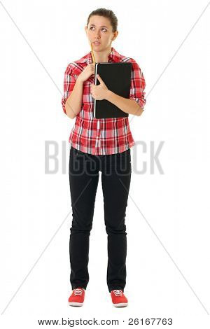 young female student in red shirt holds notebook and pencil, isolated on white