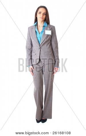 young thoughtful businesswoman in grey suit and blue shirt, isolated on white