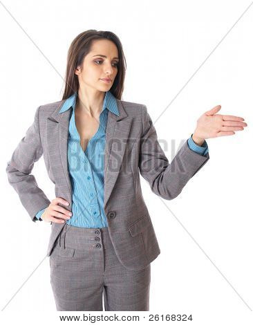 attractive female speaker during presentation, hand gesture, shows something, isolated on white