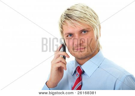 young attractive businessman in blue shirt and red tie talks over mobile phone, isolated on white background