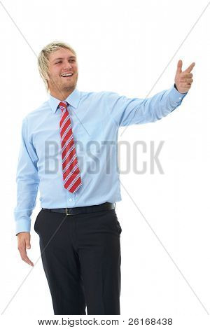 young attractive blonde male point to his right side, isolated on white background