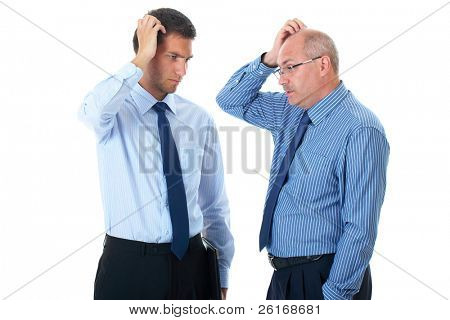 young and senior businessman scratch their heads, confused, thinking about something, isolated on white