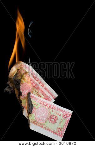 Three Pieces Of Joss Heaven Money In Flames