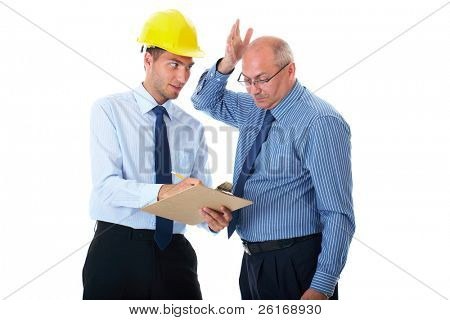 senior and junior businessman discuss and argue over something during their meeting, one of the wear yellow hardhat, isolated on white