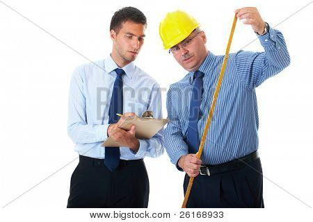 senior and junior businessman discuss and argue over something during their meeting, one of them wear hardhat, isolated on white