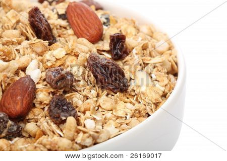 Close Up Of A Bowl Of Granola