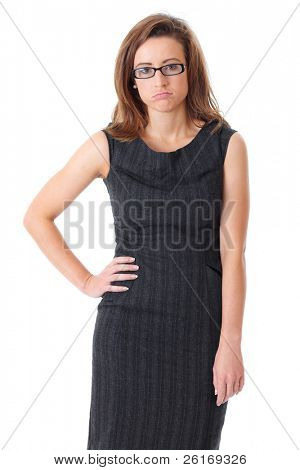 Young bored and tired businesswoman in black dress over white background