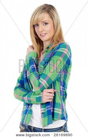 Portrait of young shy blonde female, isolated on white background