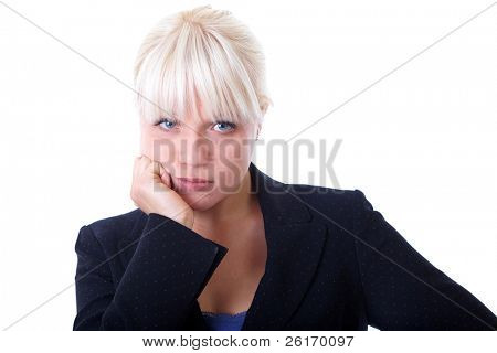 Portrait of young blonde businesswoman, thoughtful face expression, isolated on white