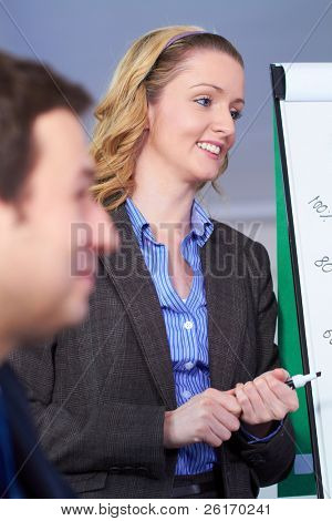 Young attractive blonde businesswoman standing next to flip chart, very positive face expression