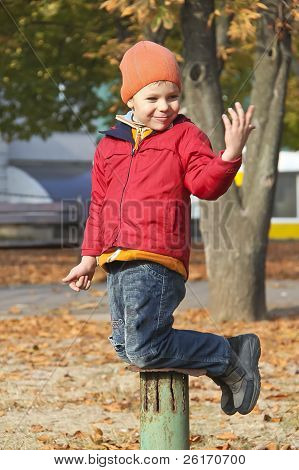 Cheerful Babe Posing, Playing In Autumn Park