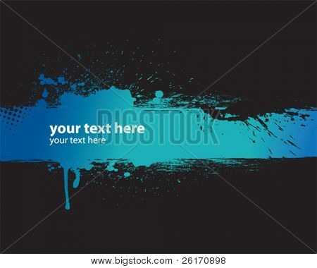 Blue grunge banner with black background