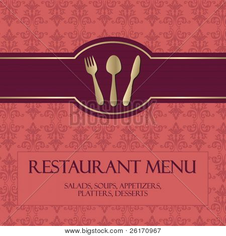 Restaurant menu, with gold details