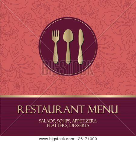 Restaurant menu, with gold details