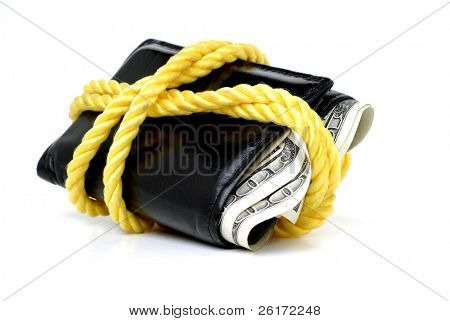 Closeup of hundred dollar bills in bulging wallet tied with rope