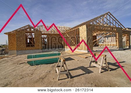 New home with graph showing losses in the housing market