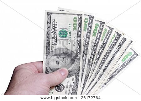 Closeup of several hundred dollar bills isolated on white background