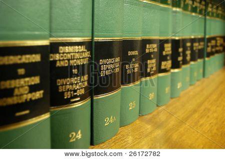 Cerca de varios volúmenes de libros de la ley de los códigos y estatutos sobre el divorcio
