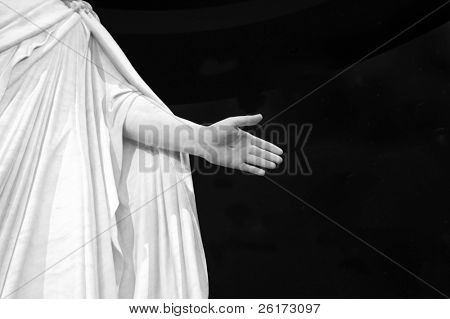 Statute of Hand of Jesus with black background