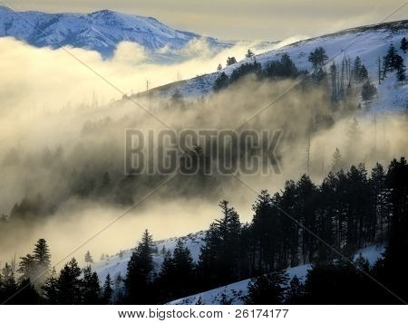 Valley with fog and mountains in background