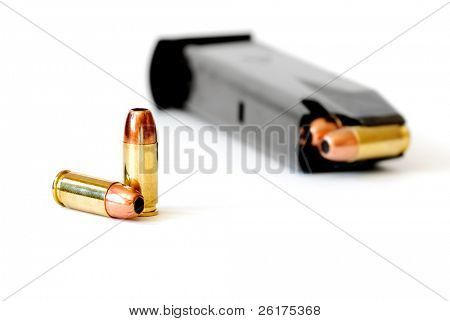Closeup of tactical military bullets and magazine for gun