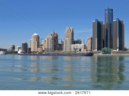 Freighter Passes Detroit