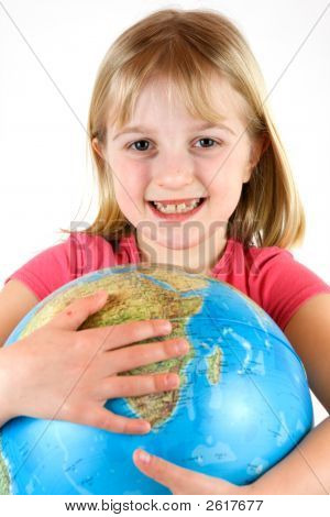 Young Girl Clutching A Globe