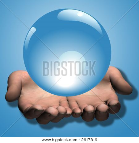 Shiny Blue Crystal Ball In 3D Hands Illustration