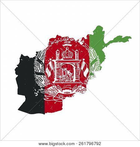 Afghanistan Country Silhouette With National