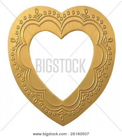 An embossed gold heart shaped frame