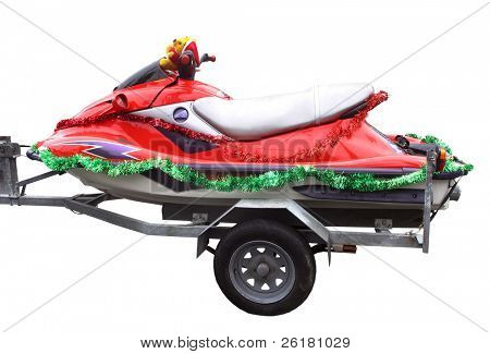 A red jetski with Christmas decorations