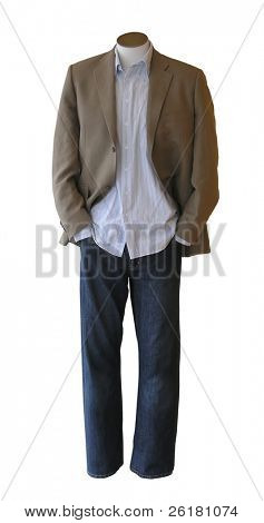 Male shop mannequin dressed in casual clothes