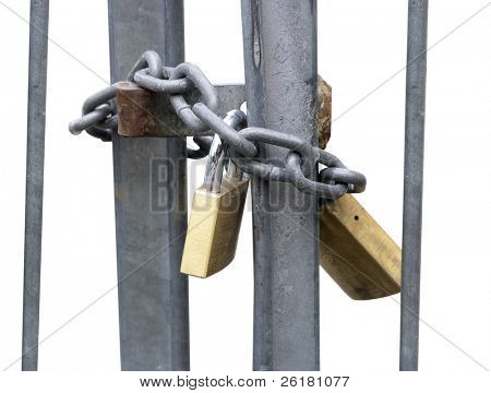 Two Padlocks securing a metal bared gate