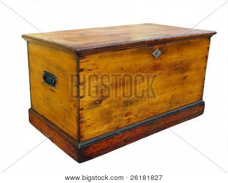 Antique wooden glory box with lock Isolated with clipping path