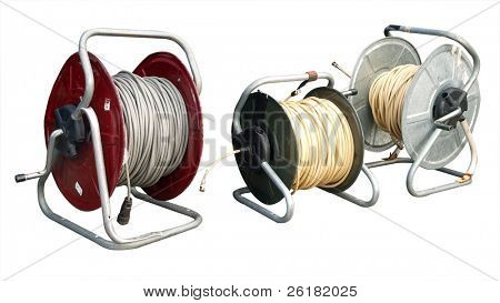 Three reels  of coaxial TV cable isolated with clipping path